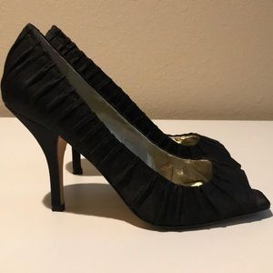 Guess by Marciano Black Satin peep toe heel Size 8